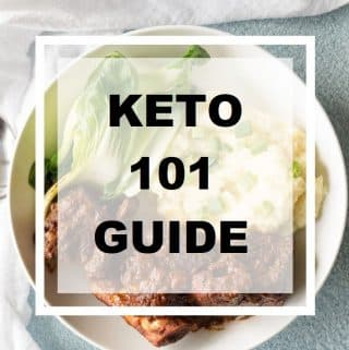 the words 101 Guide to Keto written in text over a bowl of food