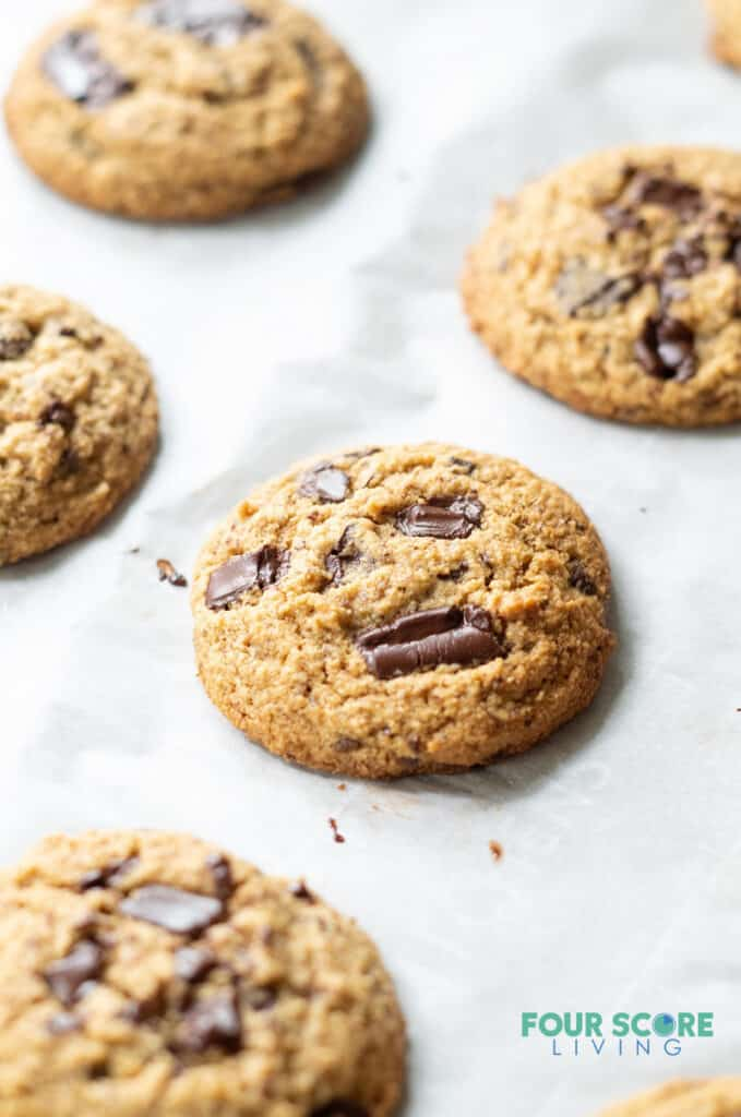 Low Carb Keto Chocolate Chip cookie on a baking sheet.