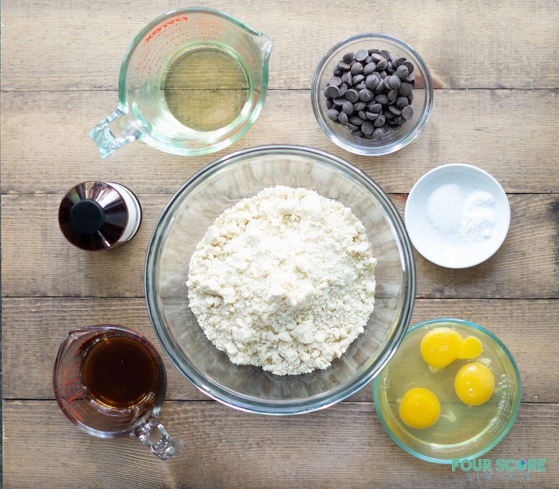 Ingredients to make Low Carb Chocolate Chip Muffins