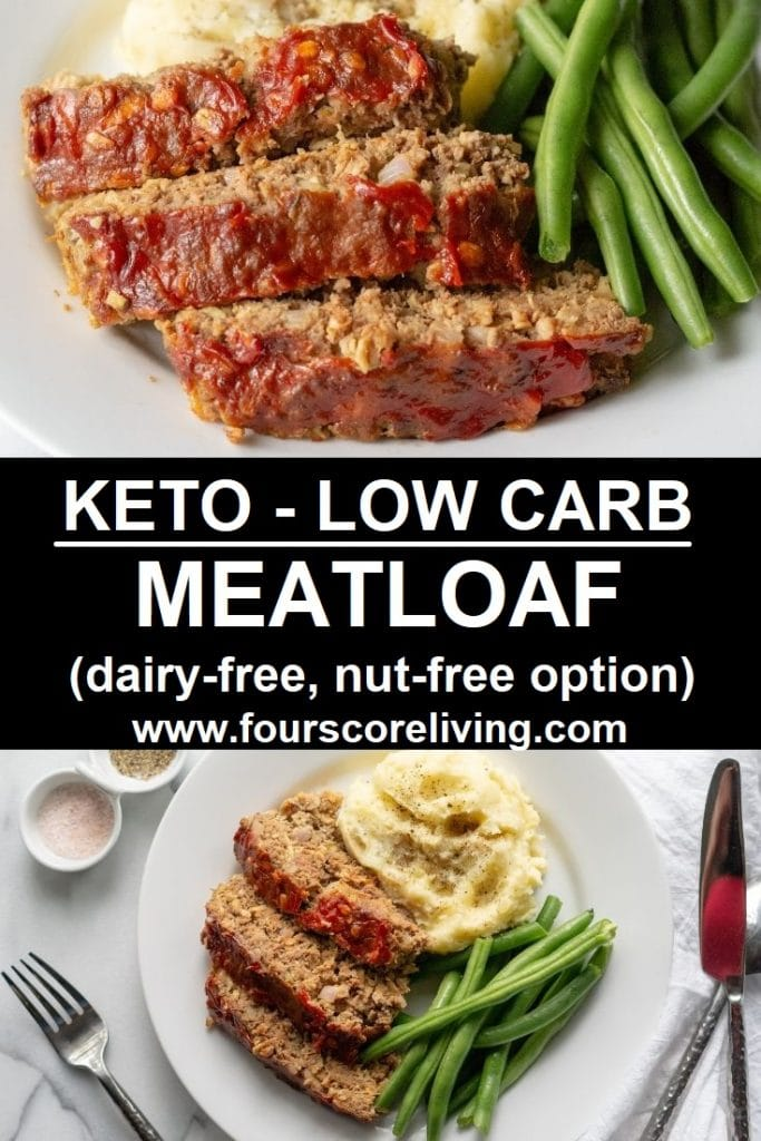 a pinterest pin with two photos of meatloaf and the words keto low carb meatloaf in text in the center