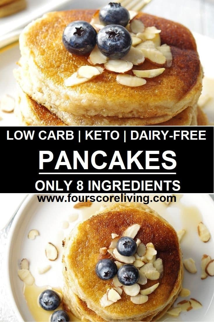 A Low Carb Pancake Mix Recipe that is simple to make, a tried and true Keto Pancakes Recipe, and can be made right away, or stored for future use. Dairy-free, and refined-sugar free, these Low Carb Pancakes are fluffy and the perfect start to any morning.