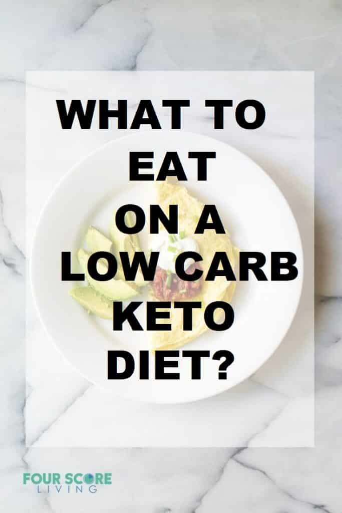 the words What to eat on a low carb keto diet over a plate of food