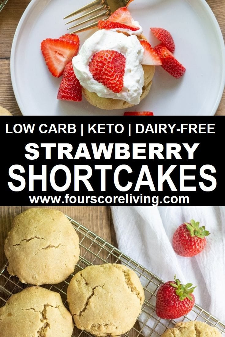 Easy recipe for a keto shortcake topped with fresh strawberries and coconut whipped cream, you're going to love these Keto Strawberry Shortcakes.