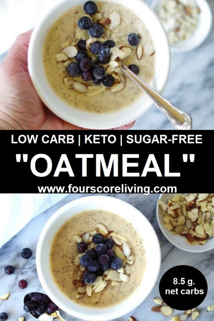 Low Carb Oatmeal in a white bowl with blueberries.