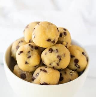 keto cookie dough bites in a white bowl