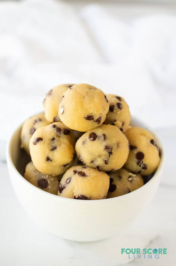 keto cookie dough bites in a white bowl