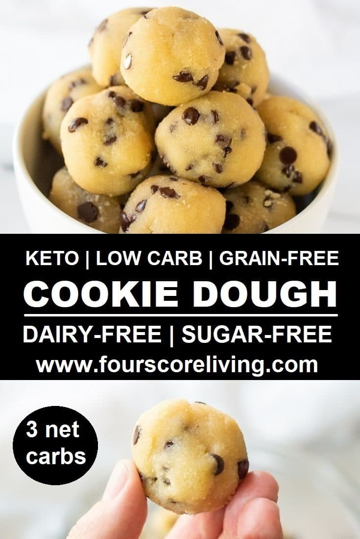 Only 3 net carbs per serving! Learn how to make easy keto cookie dough bites in five minutes with only five ingrediens.