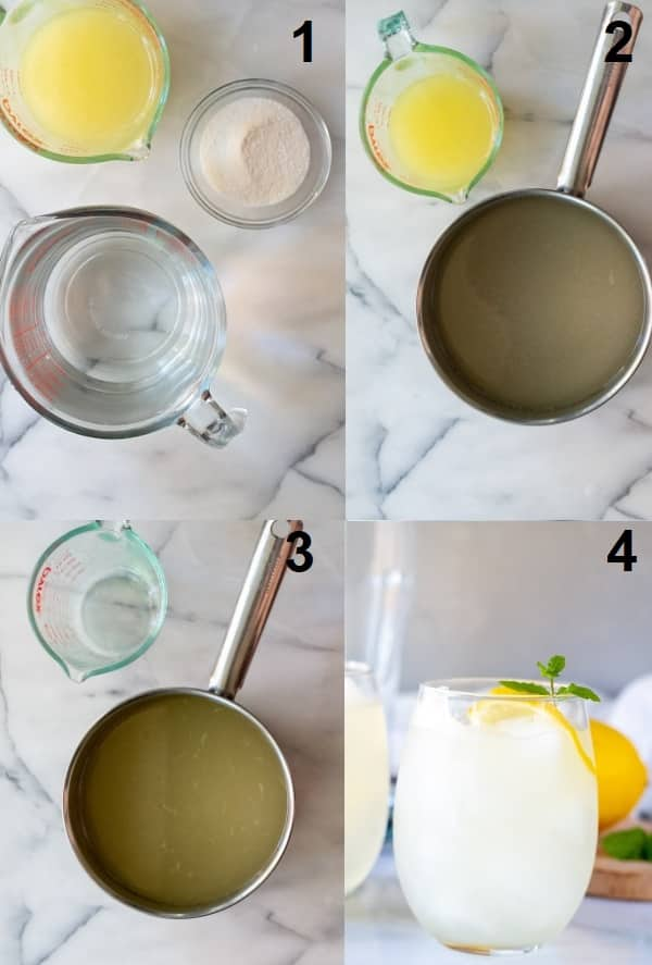 a collage of four photos showing how to make keto lemonade