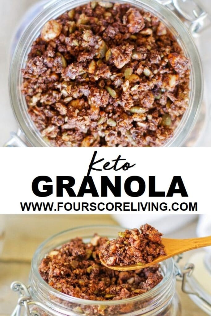 keto granola in a glass jar with a spoon