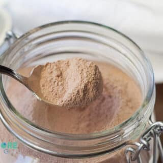keto hot chocolate mix in a glass container