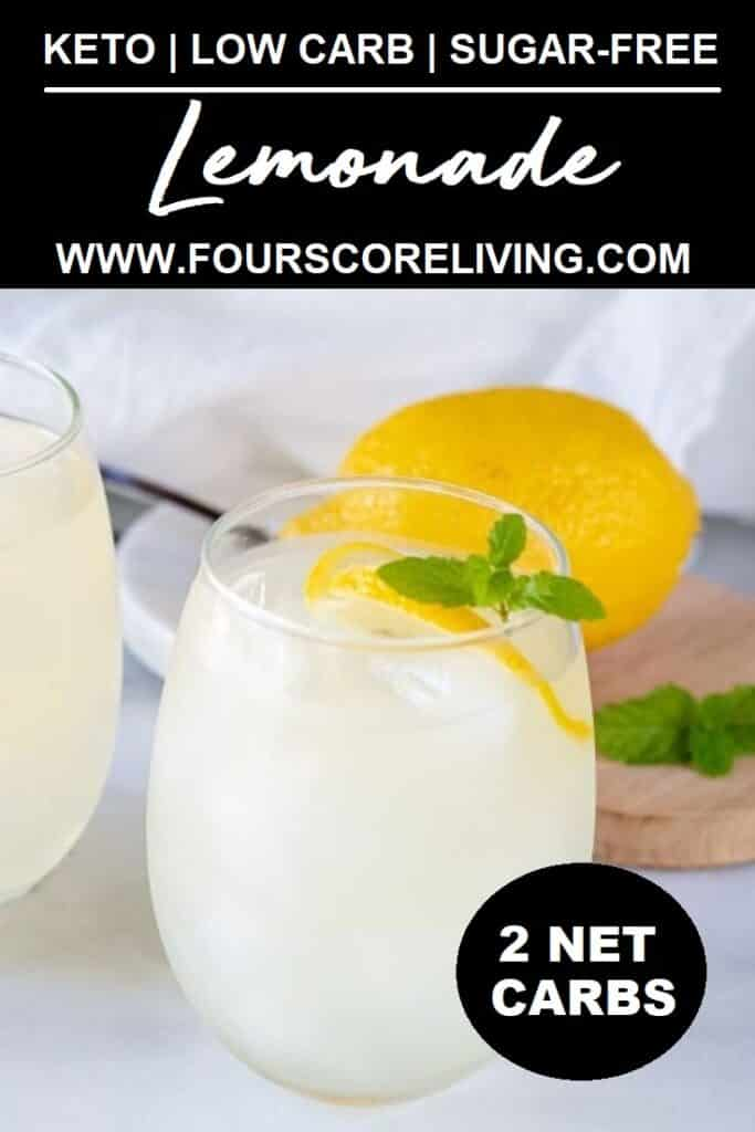 a pinterest pin with a close up of a glass of keto lemonade with the words keto low-carb sugar-free lemonade in text at the top