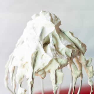 keto whipped cream on a whisk attachment