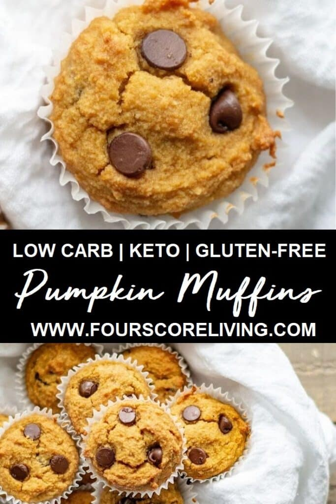 a pinterest pin collage of two photos of pumpkin muffins with the words low carb keto gluten-free pumpkin muffins in text in the center