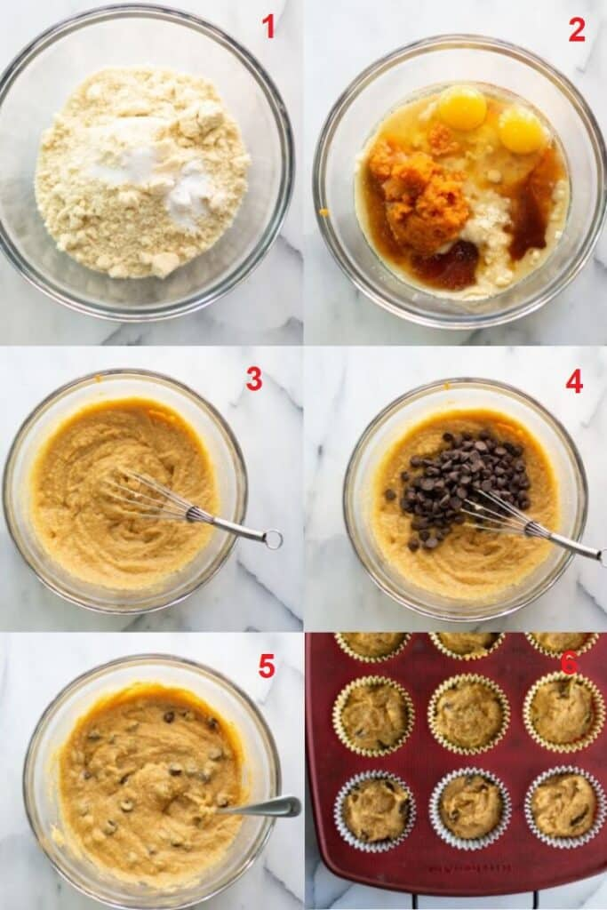a collage of six photos showing the steps on how to make low carb pumpkin muffins