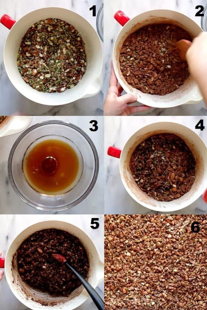 a collage of six photos showing the steps how to make keto granola