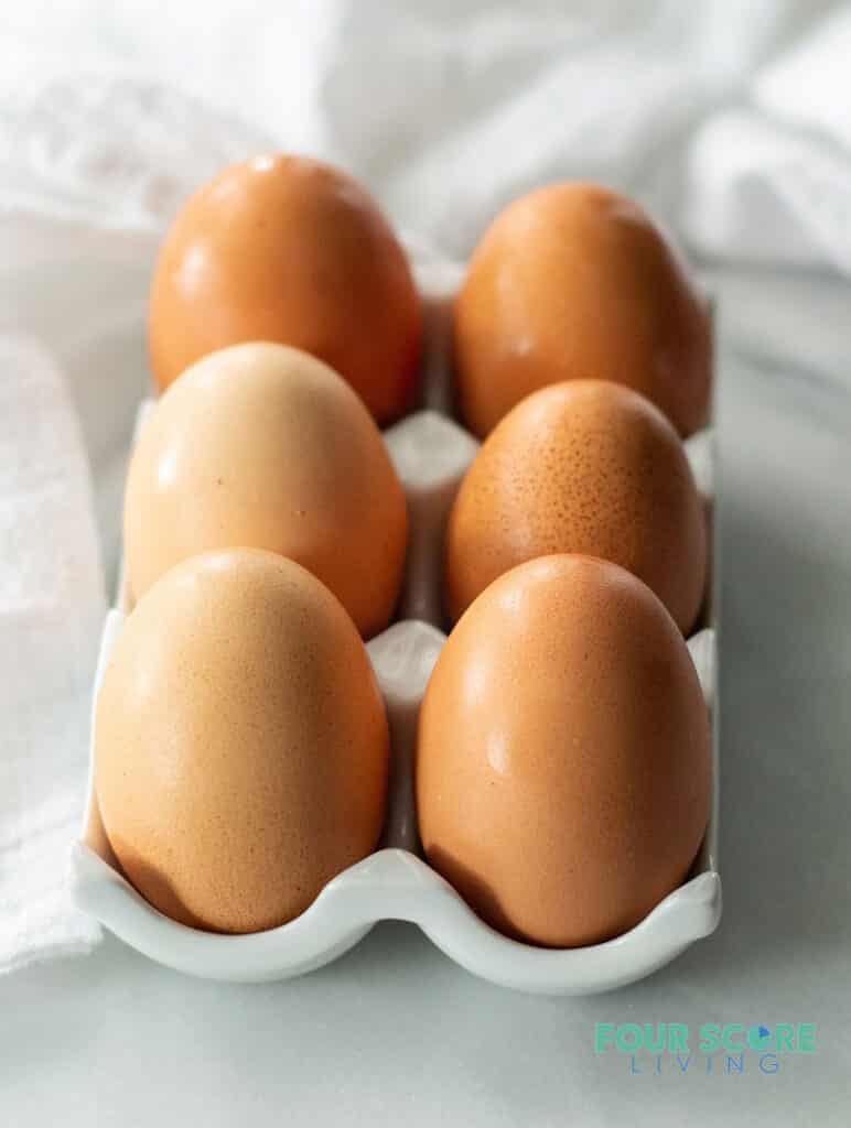 six hard boiled brown eggs to make keto deviled eggs