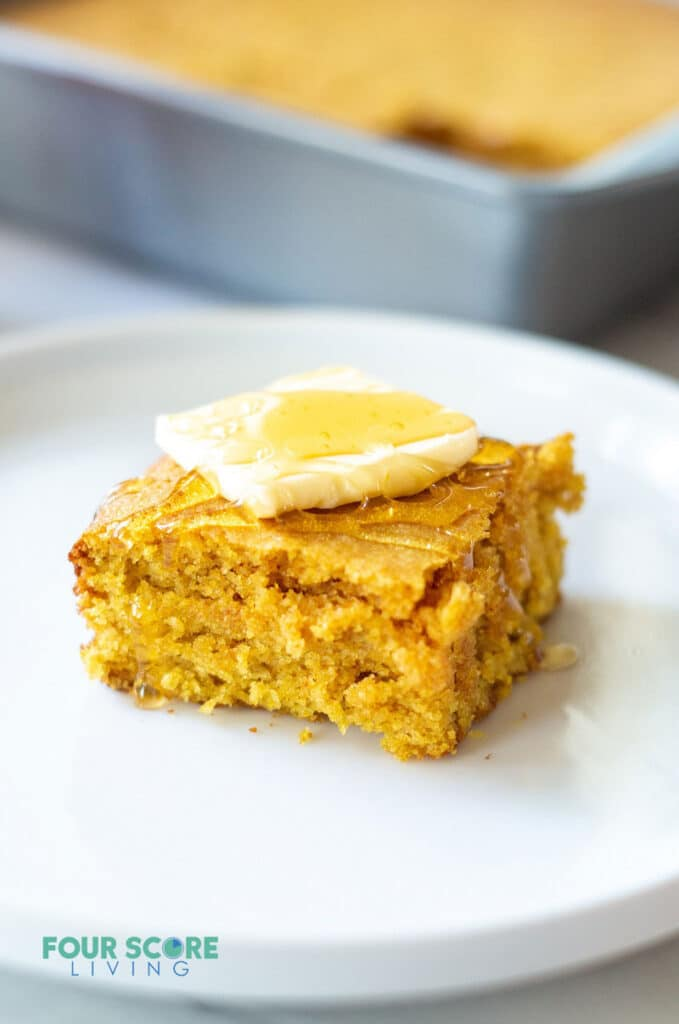 keto cornbred on a plate with butter
