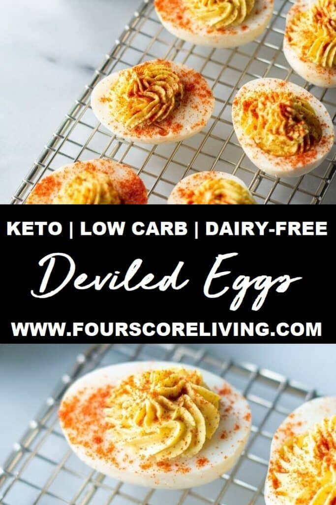 a pinterest pin collage using two photos of keto deviled egg swith the words keto low-carb dairy-free deviled eggs in text in the center