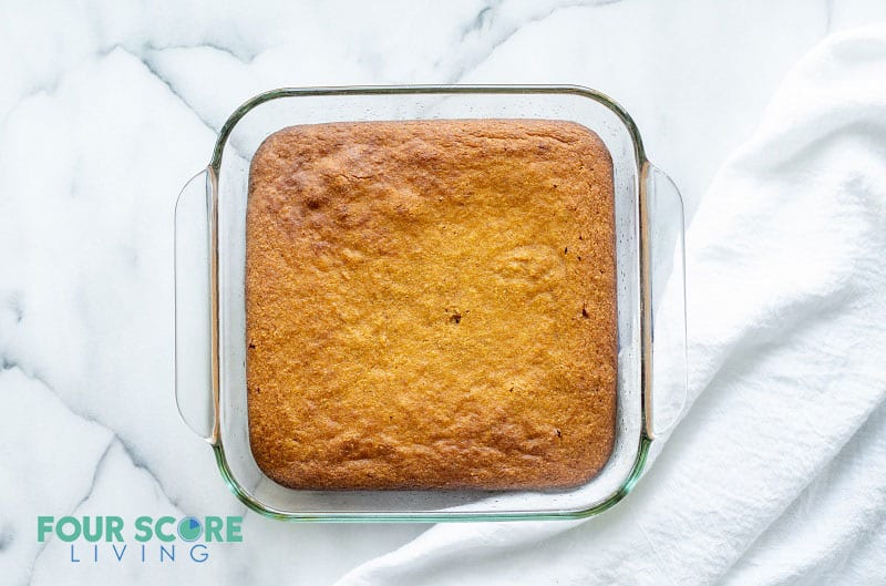 keto pumpkin bars in a glass pan