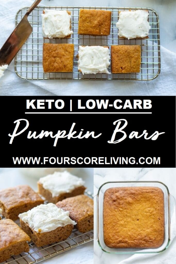 keto pumpkin bars on a wire rack with frosting