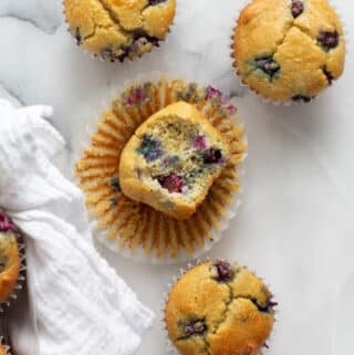 keto blueberry muffins on a white background