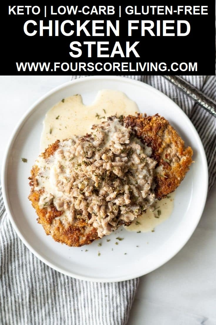 a pinterest pin with a photo of chicken fried steak with the words keto low-carb gluten-free chicken fried steak in text in the center