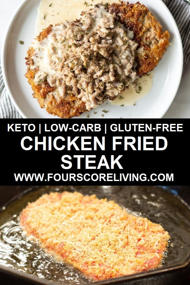 a pinterest pin collage of two photos of chicken fried steak with the words keto low-carb gluten-free chicken fried steak in text in the center