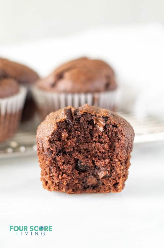 keto chocolate muffin with a bite out