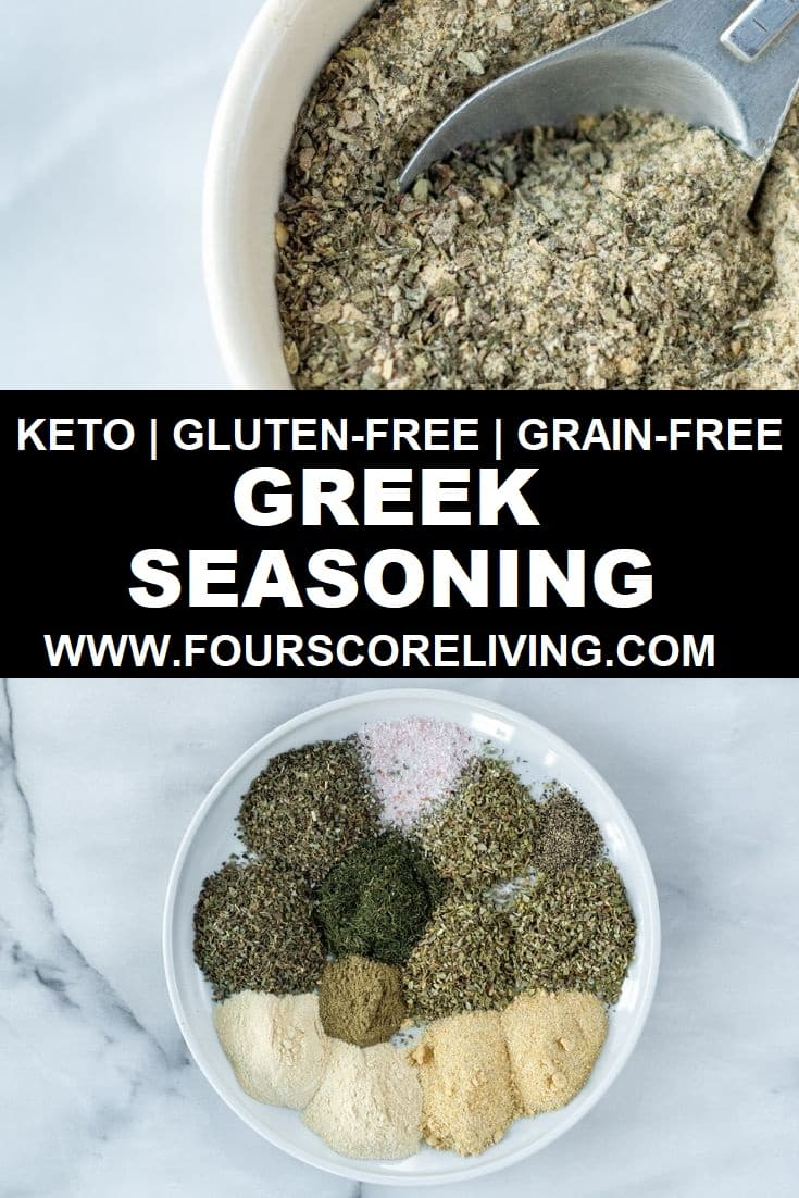 Making flavorful seasoning blends at home is easier than it sounds. This Greek Seasoning recipe is made with simple spices from your pantry, and doesn't contain any sneaky carbs or fillers. #greekseasoning #greekspice #greekseasoningrecipe #greekseasoningblend #greekseasoningDIY