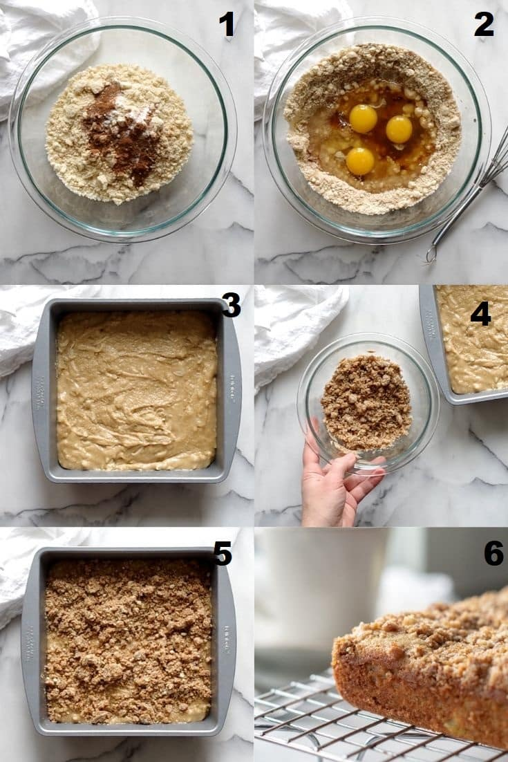 a collage of images showing steps for making keto coffee cake