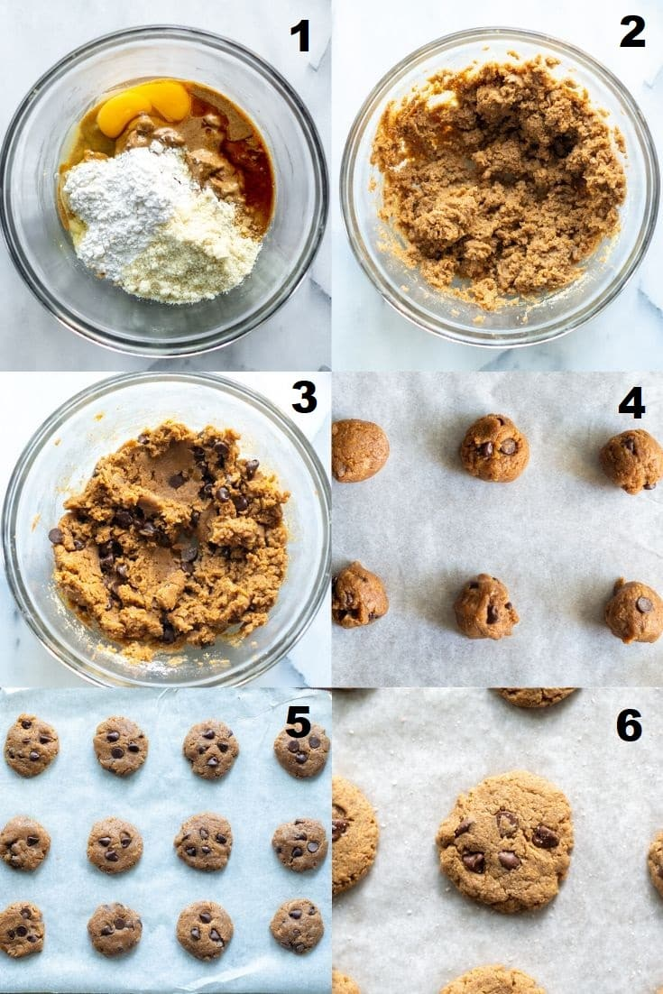 a collage of images showing instructions for making keto almond butter cookies