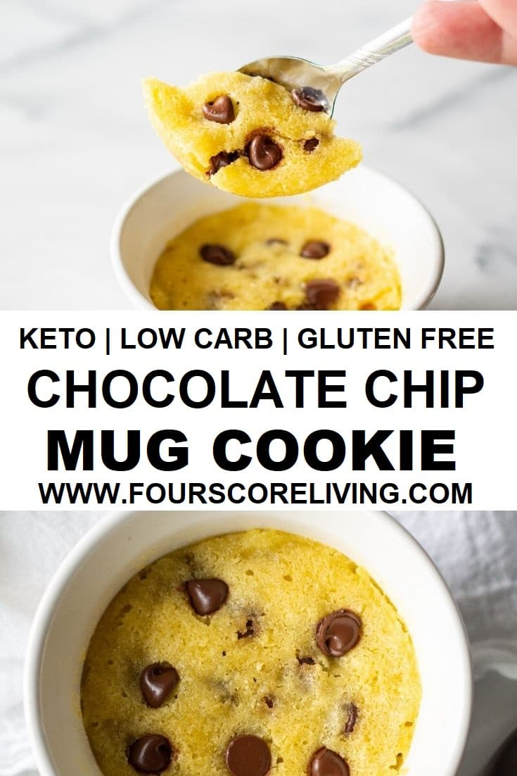 keto chocolate chip mug cookie pinterest pin collage