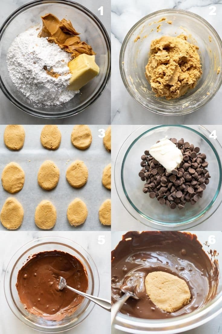 a collage of images showing the instructions for making keto chocolate peanut butter eggs