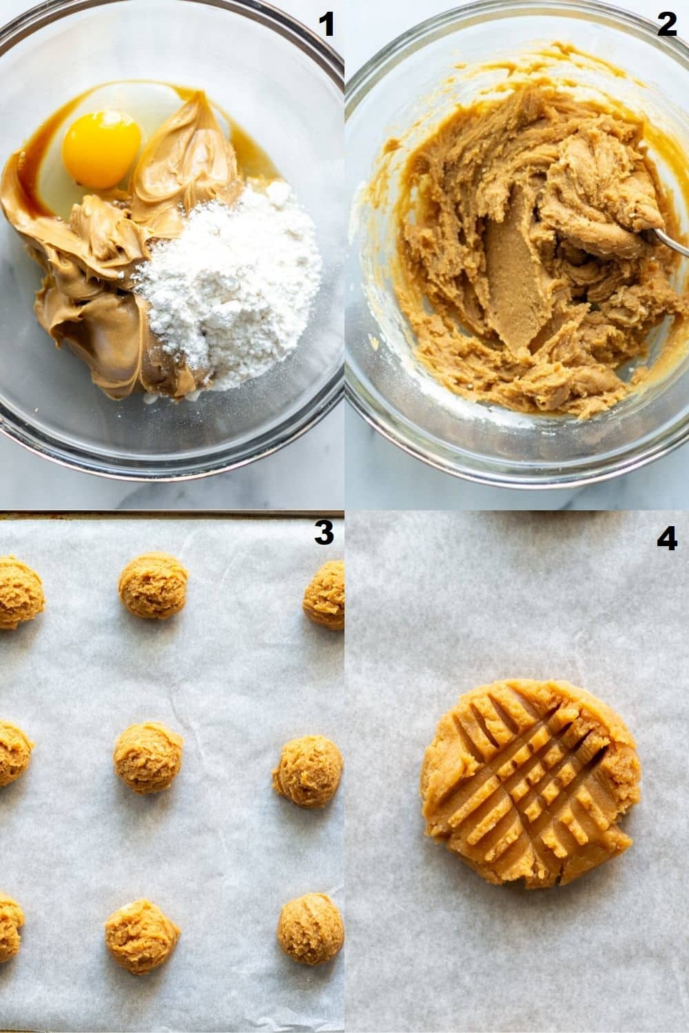 a collage of four images showing steps for making peanut butter cookies