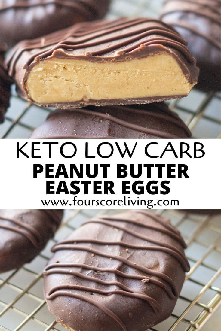 keto peanut butter easter eggs pinterest pin 3 showing different angles of the peanut butter eggs with writing