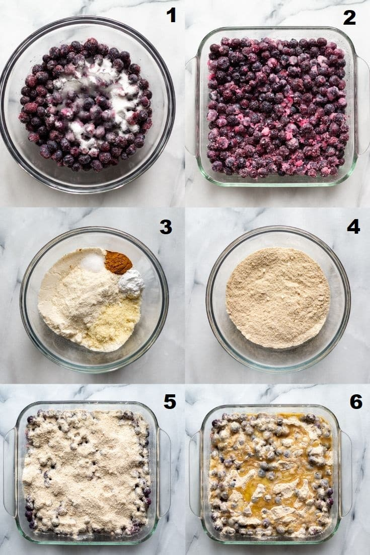collage of six images showing instructions for making blueberry dump cake