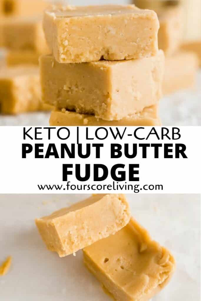 a pinterest pin collage of two photos of peanut butter fudge with the words keto low-carb peanut butter fudge in text in the center