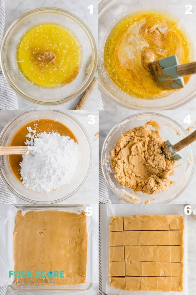 a collage of six photos showing how to make keto peanut butter fudge