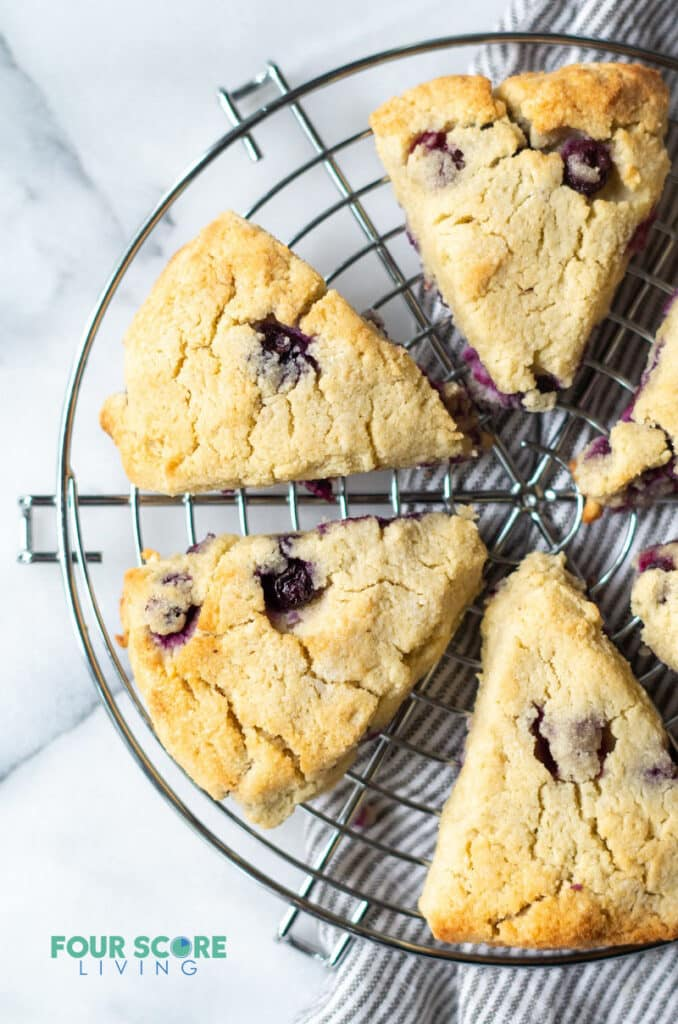 keto blueberry scones on a wire cooling rack