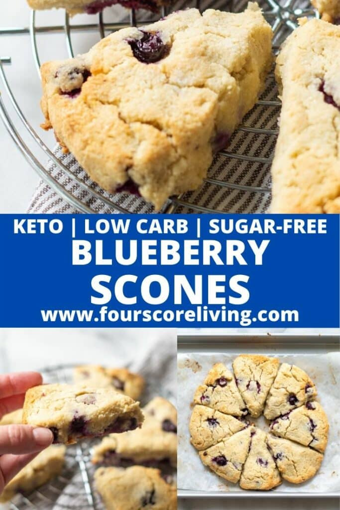a pinterest pin with three photos of scones with the words keto low carb sugar-free blueberry scones in text in the center