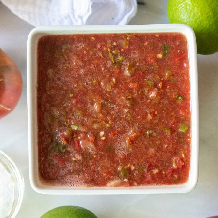 salsa in a white square bowl