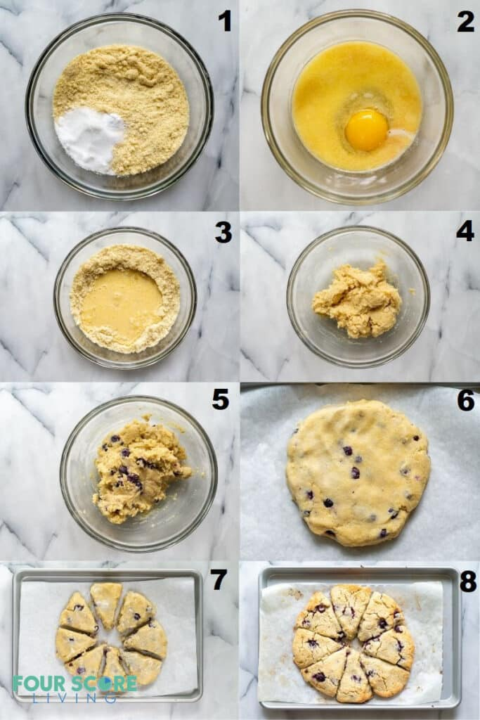 a collage of eight photos showing the steps how to make keto blueberry scones