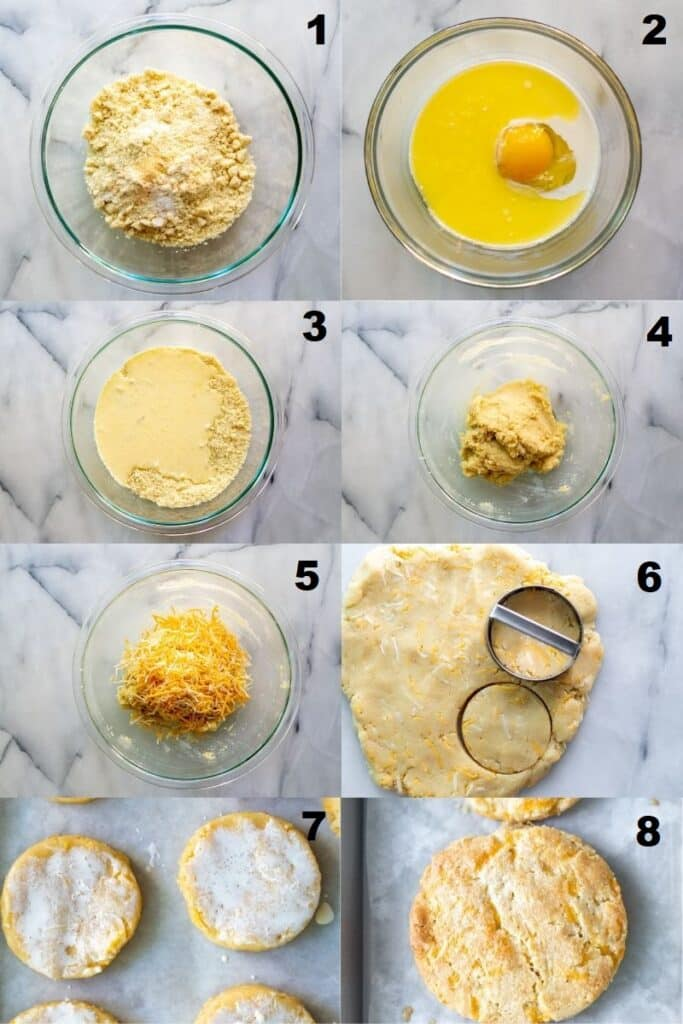 a collage of eight photos showing the steps to make keto cheddar biscuits