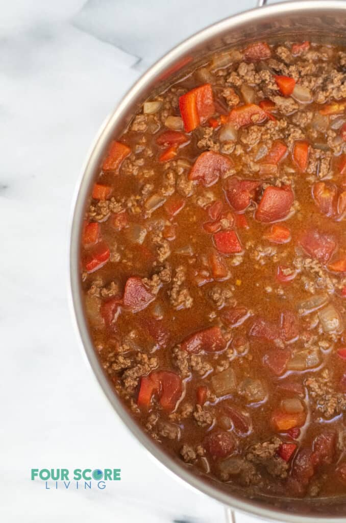 a close up of keto taco soup in a cooking pot