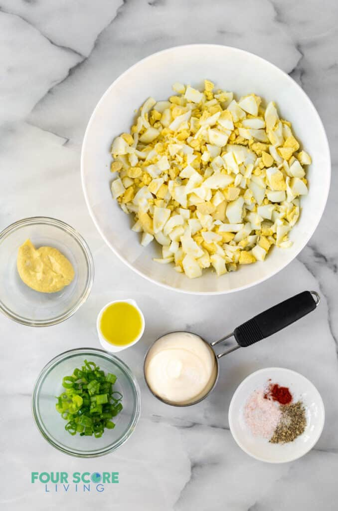 top down view of ingredients in keto egg salad