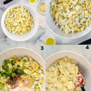 a collage of four photos showing how to make keto egg salad