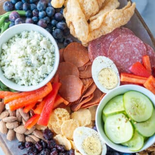 close up of the ingredients on a Keto Charcuterie Board
