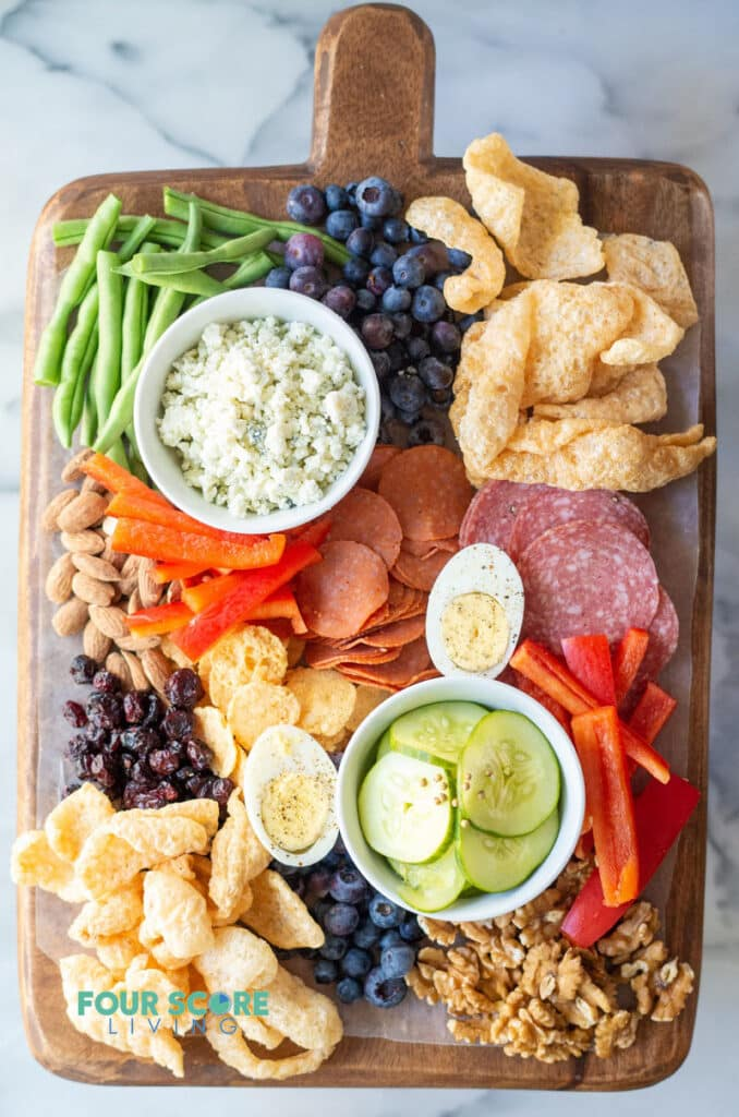top down views of the ingredients on a Keto Charcuterie Board