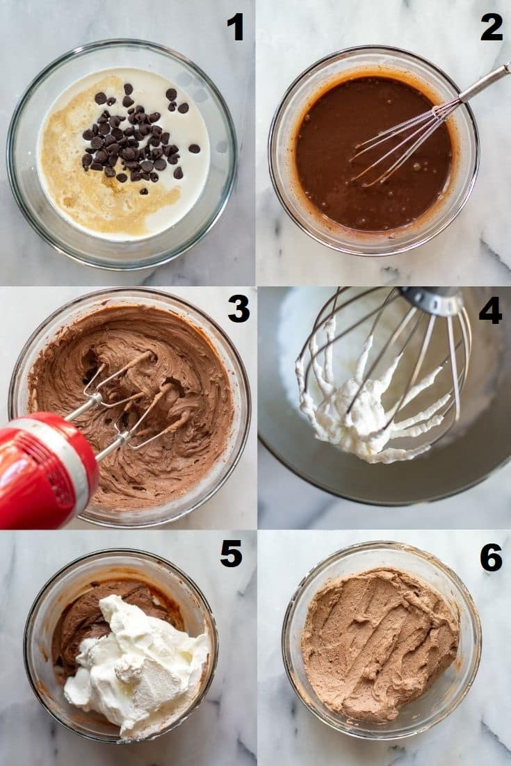 a collage of six photos showing how to make keto chocolate mousse