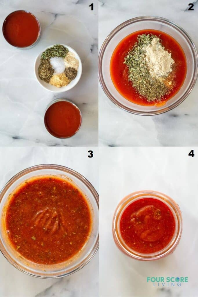 a collage of four photos showing how to make keto pizza sauce